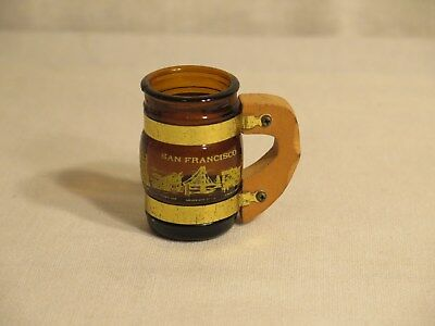 vintage San Francisco shot glass with wood handle
