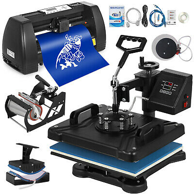 """5in1 Heat Press 12""""x15"""" Vinyl Cutter Plotter 14"""" Drawing Tools W/Table Software"""