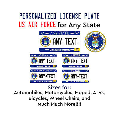 Personalized Custom US AIR FORCE License Plate Tag for Any State Auto Car ATV