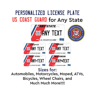 Personalized Custom US COAST GUARD License Plate Tag for Any State Auto Car ATV
