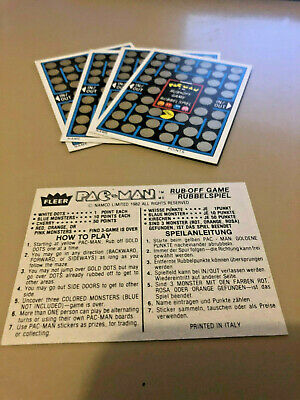 Pac-Man Stickers 5x Rub-Off - Unscratched Game Cards - NAMCO FLEER 1982 RARE