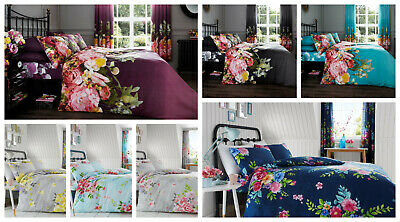 Alice Fadded Floral Print Reversible Duvet Quilt Cover Bedding Set + Pillowcase