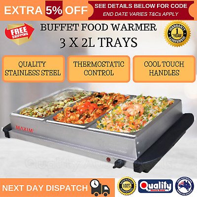 New Electric Buffet Food Warmer Server 3 Stainless Steel Tray Cool Touch Handles