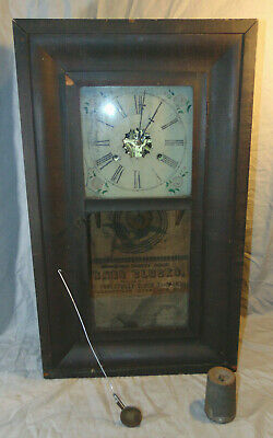 Antique Forestville Wooden Case OG Ogee Mantel Clock w/ Weights Estate Fresh
