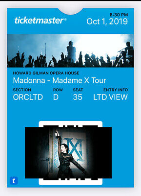 Madonna Madame X Tour October 1 Brooklyn New York orchestra row D ticket