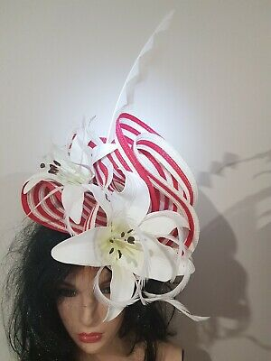 Fascinator hatinator hat races wedding costume formal red stripe - one off
