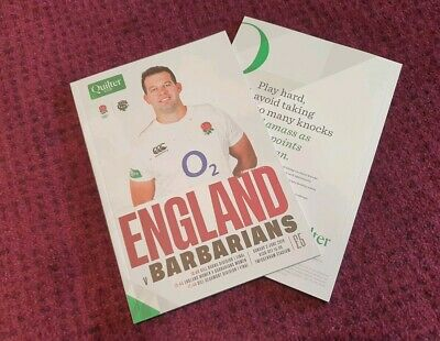 ENGLAND vs BARBARIANS QUILTER CUP 2019 Rugby Union Programme 2/6/19!