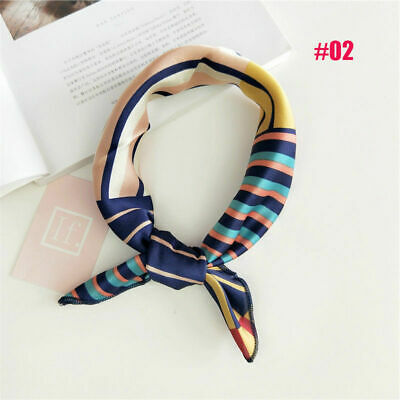 Womens Square Silk Feeling Satin Scarf Small Head-Neck Hair Tie Band Holiday