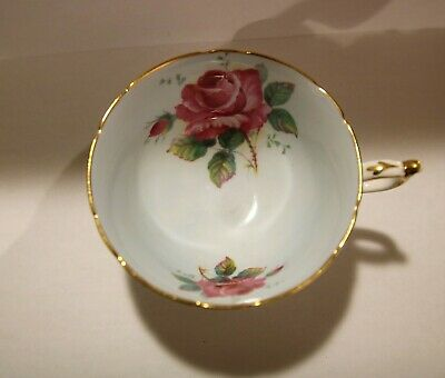 Vintage Paragon Bone China Cup Light Mint Green Inside Pink Rose Hm Mark Look!