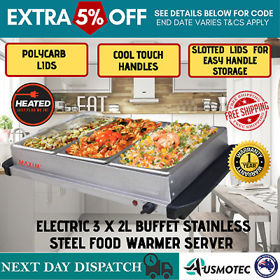 New Electric Food Warmer Server Buffet Bain Marie Stainless Steel 3 Tray Large