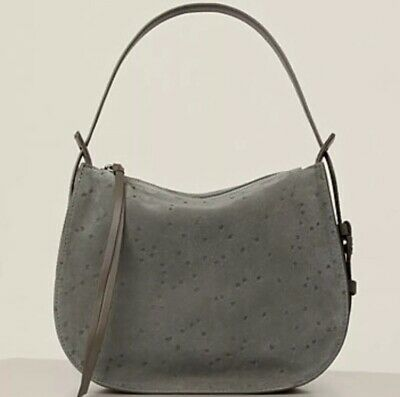 5418e984167 ALLSAINTS MINI ECHO Calfskin Suede & Leather NEW Hobo Bag Graphite ...