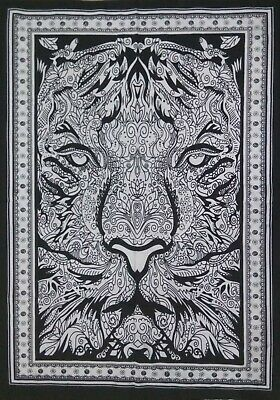 Indian Tapestry Poster Wall Hanging Small Textile White Cotton  Art Home Decor