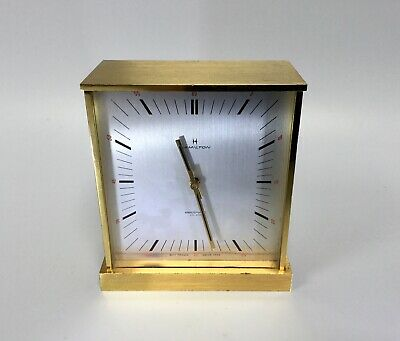 Mid Century Hamilton Electronic Clock Swiss Brass Case French Movement WORKING