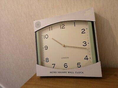 M&S Marks & Spencer RETRO Green Square Metal Wall Clock New Boxed