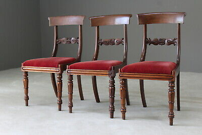 3 Antique Victorian Mahogany Bar Back Dining Chairs