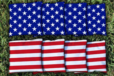 Cornhole Bean Bags Set of 8 ACA Regulation Bags Stars & Stripes Red White Blue