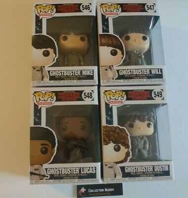 Funko Pop! TV 546-549 Strangers Things Ghostbusters Mike Will Lucas Dustin Set