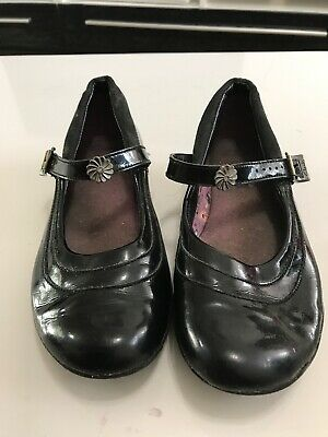 Clarks Girls Black Patent Leather School Shoes Size Uk 1.5 G  ***