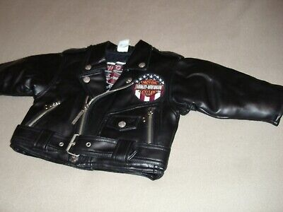28ae47cfe HARLEY DAVIDSON KIDS BLACK FAUX LEATHER BORN TO RIDE BIKERS JACKET 18 m  Nice!