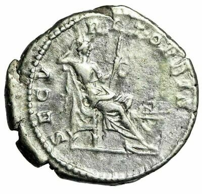 "Caracalla AR Denarius ""Securitas Seated, Altar"" Rome 199 AD RIC 22b Rare VF"