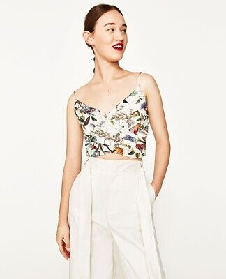 900e8e88 Zara Draped Pleated Tropical Floral Print Crop Top M Linen Look Spaghetti  Straps