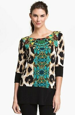 3334fb62095 Eva Varro Asymmetric Animal Print / Turquoise 3/4 Sleeve Tunic Top Size  Medium
