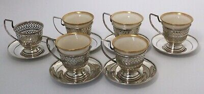 Sterling Silver Demitasse Cups & Saucers by Manchester