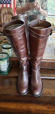 3c8cc8a91 Matisse Steeplechase Distressed Brown Leather Tall Zip Riding Boots Womens  8.5M*