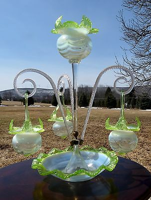 Antique VICTORIAN OPALESCENT Art Glass EPERGNE w/ HANGING BASKETS CENTERPIECE