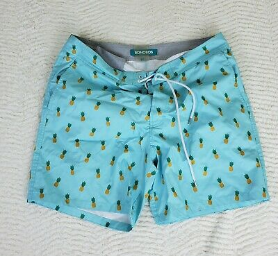 9997df7fcc Bonobos Size M Blue Pineapple Print Swim Trunks Shorts Drawstring Beach Pool