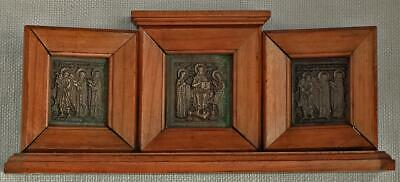Rare Antique 19th century Russian Bronze Orthodox Triptych Icon In Wood Casing