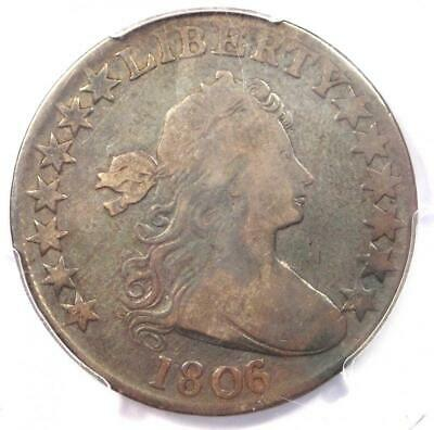 1806/5 Draped Bust Half Dollar 50C Coin Large Stars - Certified PCGS VG8