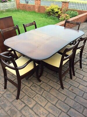 Vintage ,reproduction Dining Table And 6 Chairs , Mahogany , Extending