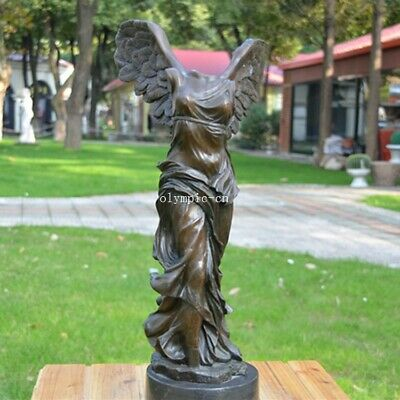 19'' ancient Greek bronze art sculpture home decorate winged Victory statue