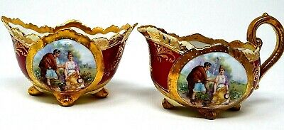 Antique Imperial Crown China Austria Red/Gilded Gold Figural Creamer & Sugar