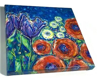 Starry Night, Floral Painting, Flowers, Poppies, Tulips, Roses, Abstract Flowers