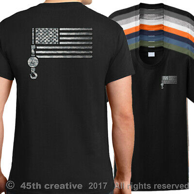 5474b04e Crane Operator American Flag T-Shirt - USA tower truck crane t shirt - Black