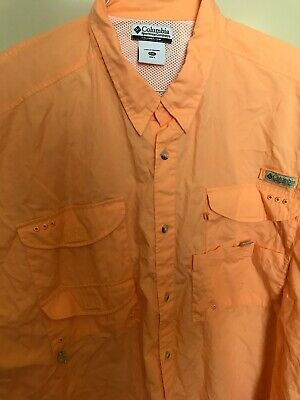 9470e701a3a Columbia PFG Men's Fishing Shirt Long Sleeve Vented 100% Cotton 4XL Orange