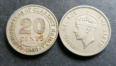 Malaya 20 cent coin 1950