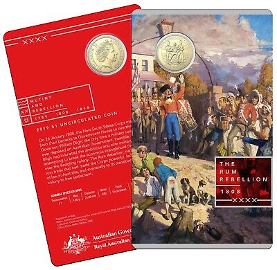 2019 The Rum Rebellion $1 One Dollar Uncirculated Coin on RAM Card