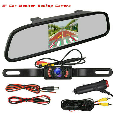 """5"""" LCD Monitor Miror IR Nightvision Rear View License Plate Backup Camera System"""