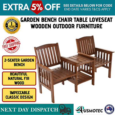 Jack & Jill Outdoor Seater Chair Garden Bench Furniture Patio 2 Seat & Table New