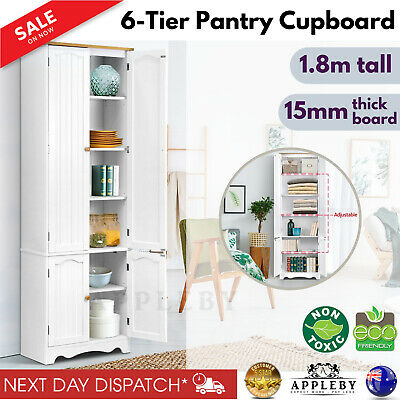 Wooden Kitchen Pantry Cabinet Storage 1.8m Tall Cupboard 6 Shelves 4 Doors White