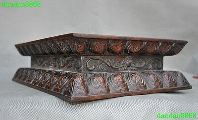 Chinese Huanghuali wood Hand Carved Lucky Flower Place items Display Base Box