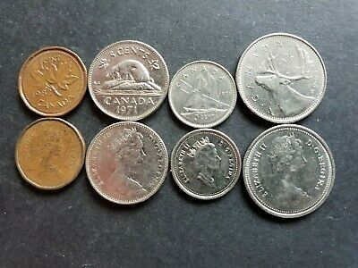 Canada 1, 5, 10, 25 cent coins