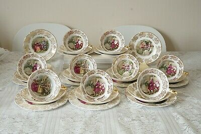 Aynsley Bone China Tea Cups, Saucers and Tea Plates 29 Pieces Mismatched
