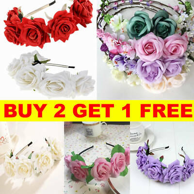 Girl Floral Crown Flower Headband Hairband Wedding Hair Garland Headpiece Boho