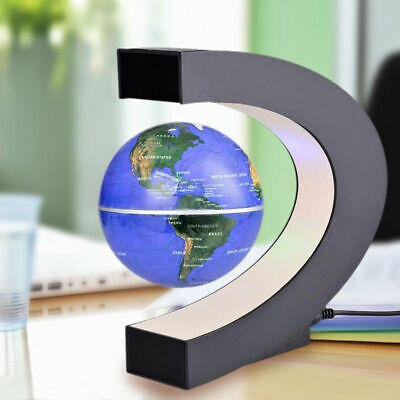 Magnetic Levitation Floating World Map Globe C Shape Base Home Office Desk Decor