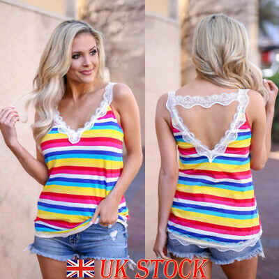 Women T Shirt Lace V Neck Rainbow Striped Summer Casual Holiday Vest Tank Tops