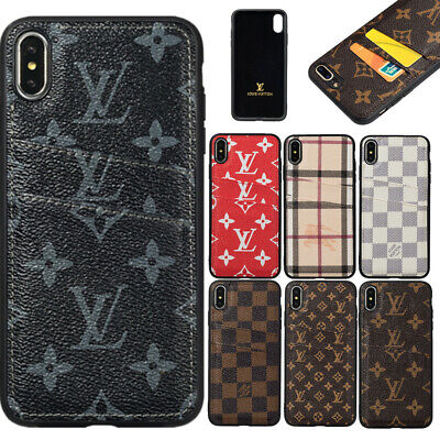 iPhone XS Max XR X 8 7 Plus Luxury PU Leather Card Holder Back Wallet Case Cover
